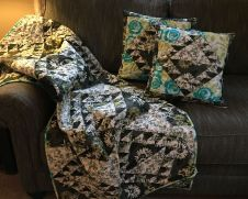 quilt and pillows